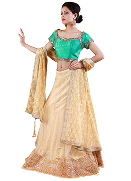 Cream Net A Line Lehenga Choli