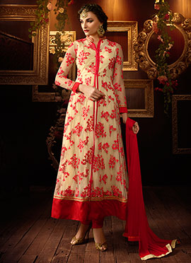 Cream Net Ankle Length Anarkali Suit