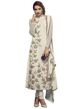 Cream Net Churidar Suit