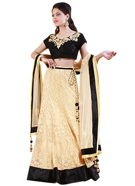 Cream Net Embroidered A Line Lehenga Choli