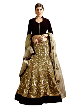 Cream Net Embroidered A-Line Lehenga Choli