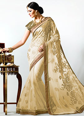 Cream Net Floral Pattern Embroidered Saree