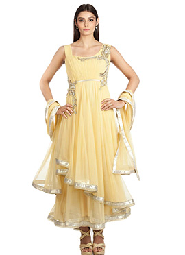 Cream Net Layered Anarkali Suit