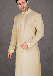 Cream Poly Cotton Kurta Pyjama