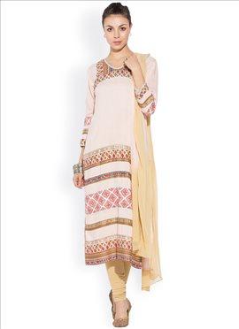 Cream Printed Churidar Suit