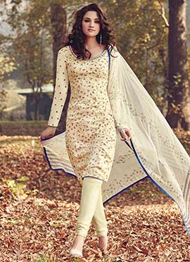 Cream Printed Floral Churidar Suit