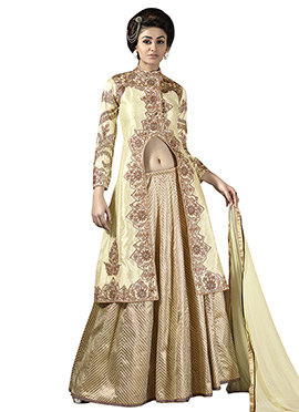 Cream Pure Georgette Long Choli Lehenga