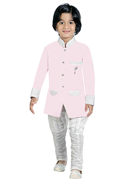 Cream Silk Blend Boys Indowestern Sherwani