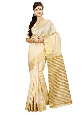 Cream Tussar Silk Border Saree