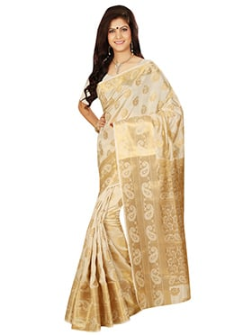 Cream Tussar Silk Zari Weaved Saree