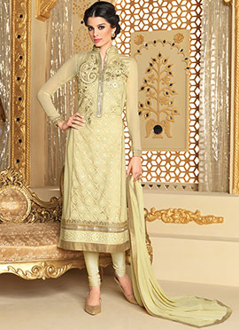 Creamish Yellow Georgette Straight Suit