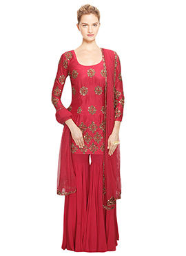 Crimson Red Embellished Palazzo Suit