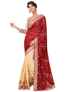 Crimson Red N Cream Half N Half Saree