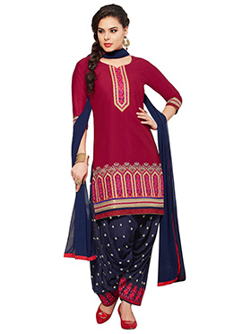 Crimson Red Patiala Suit