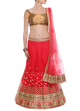 CTC Mall Red A Line Lehenga Choli