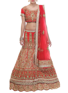 CTC Mall Red Embroidered A Line Lehenga Choli