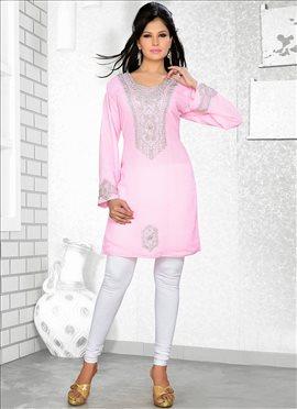 Cute Pink Georgette Kurti