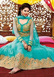Cute turquoise net ankle length anarkali suit