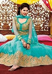 Cute turquoise net ankle length anarkali suit