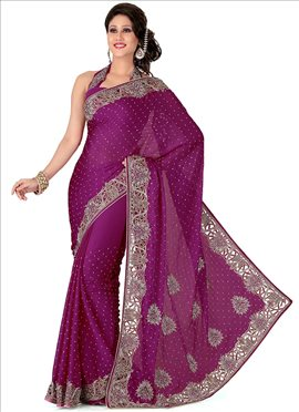 Dainty Look Crystals Enhanced Chiffon Saree
