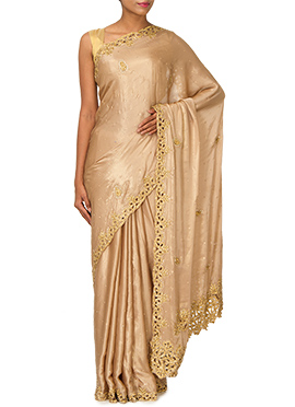 Dark Beige Crepe Embellished Saree