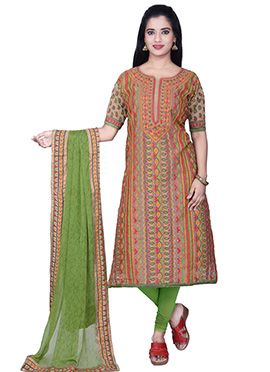 Dark Beige N Light Green Churidar Suit