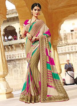 Dark Beige N Pink Leheriya Pattern Saree