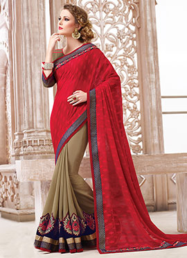 Dark Beige N Red Half N Half Saree