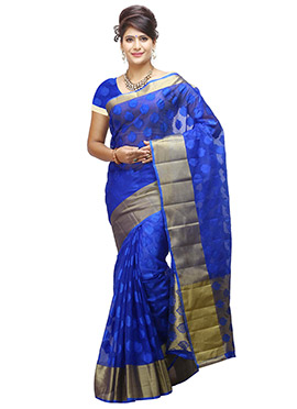 Dark Blue Art Organza Tussar Silk Saree