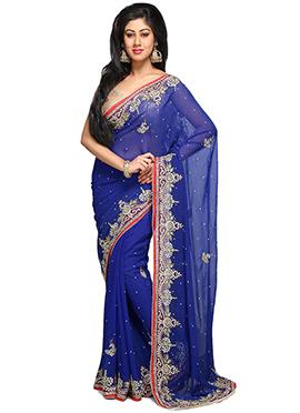 Dark Blue Georgette Embellished Saree