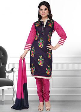 Dark Blue N Pink Art Silk Churidar Suit