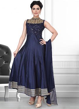 Dark Blue Net N Art Silk Anarkali Suit