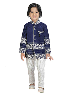 Dark Blue Silk Blend Boys Indowestern Sherwani