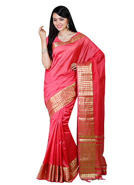 Dark Brink Pink Art Tussar Silk Border Saree
