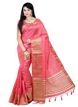 Dark Brink Pink Art Tussar Silk Saree