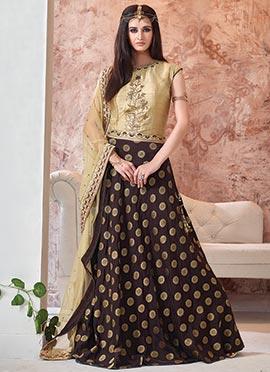 Dark Brown Art Silk Lehenga Choli