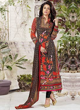 Dark Brown N Red Printed Churidar Suit