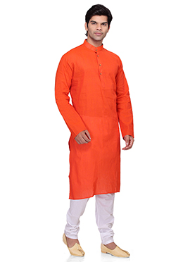 Dark Carrot Orange Cotton Kurta Pyjama