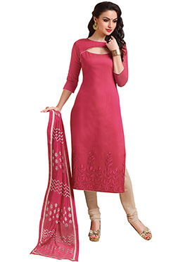 Dark Cerise Pink Benarasi Chanderi Straight Suit
