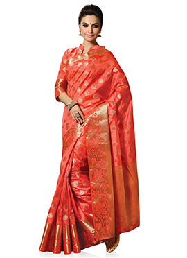 Dark Coral Peach Foliage Patterned Saree