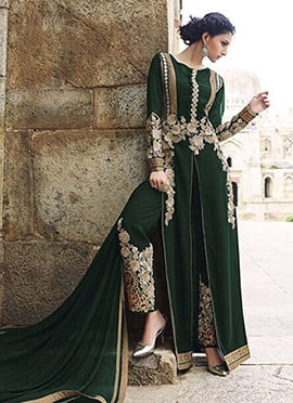 Dark Green Embroidered Straight Pant Suit
