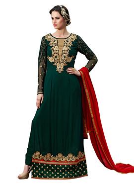 Dark Green Georgette Embroidered Pakistani Suit