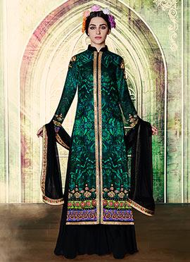 Dark Green N Green Palazzo Suit