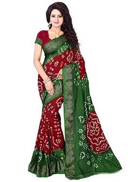 Dark Green N Regal Red Bandhini Saree