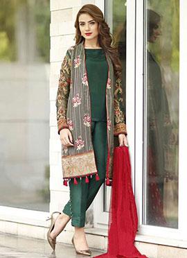 Dark Green Pakistani Style Straight Pant Suit
