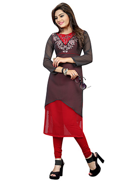 Dark Grey N Red Georgette Embroidered Long Kurti