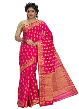 Dark Magenta Art Silk Zari Weaved Saree