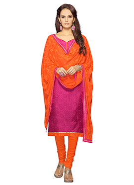 Dark Magenta Cotton Satin Churidar Suit
