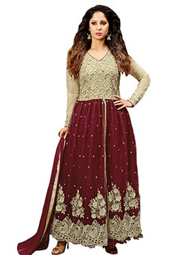 Dark Maroon And Beige Anarkali Suit