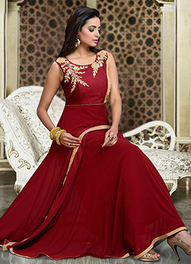 Dark Maroon N Beige Anarkali Suit